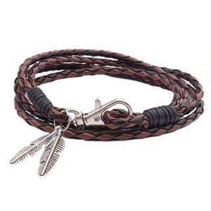 Jewelry - Boho Leaf Tassel Brown Braided Leather Bracelet